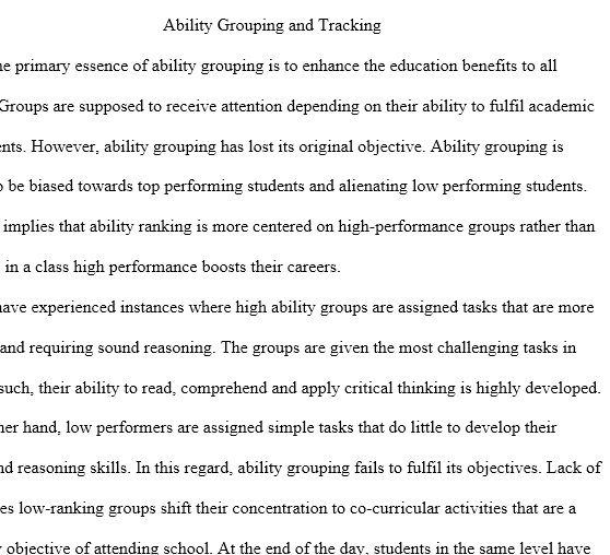 ability grouping research essay Essay on ability grouping students by this of this essay i will introduce mixed ability grouping as a method to group helper in writing research.